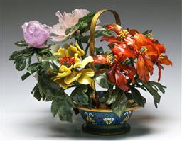 Sale 9138 - Lot 47 - Cloisonne Basket Form Jardiniere with Semi Precious Stone Decorations (H:29cm L:40cm)