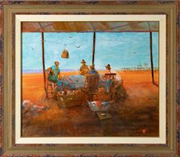 Sale 9256H - Lot 22 - Hugh Sawrey - Poker Game in the Quarters, Western QLD, (Sitting Pretty!) signed lower right, ex Joans Ridge Street Art Gallery 2003