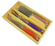 Sale 8372A - Lot 81 - Laguiole by Andre Aubrac 3-Piece Cheese Set w Multi Coloured Handles RRP $70