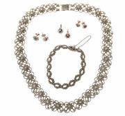 Sale 8517 - Lot 314 - SILVER MARCASITE AND STONE SET JEWELLERY; floral link collar necklace, length 45cm, bracelet 18cm, 2 stone set pendants and 2 pairs...