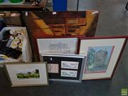 Sale 8622 - Lot 2083 - (2) Watercolours by Peter White and Bev Fischer, various sized, each signed lower, plus (3) Decorative Prints incl. Russell Drysdale