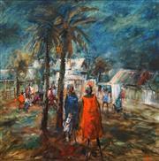 Sale 8746 - Lot 1084 - Hugh Sawrey (1919 - 1999) - Sitting Down Along Alice Springs 100.5 x 99.5cm