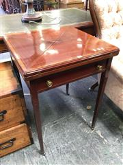 Sale 8666 - Lot 1063 - Late Victorian Mahogany & Satinwood Banded Envelope Top Card Table, fitted with a drawer & on tapering legs
