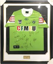 Sale 8733 - Lot 84 - Framed Canberra Raiders 2010 Jersey