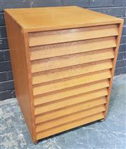 Sale 9002 - Lot 1009 - Vintage Maple Specimen Cabinet with Ten Glass Top Drawers (H:71 x W:54 x D:55cm)