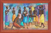 Sale 8981 - Lot 2056 - Digna, African Village Feast Scene oil on canvas board, 55.5 x 94 cm (frame: 108 x 69 x 3 cm), signed lower left