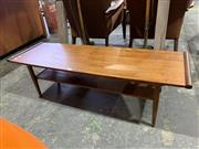 Sale 9002 - Lot 1099 - Myers 1960s Teak Coffee Table with Magazine Shelf (36 x w:114 x d:38cm)