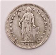 Sale 9018O - Lot 841 - Swiss silver Franc coin, c. 1944