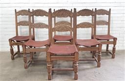 Sale 9097 - Lot 1079 - Set of Six 17th Century Style Carved Oak Dining Chairs, with shaped bars, leather seat & turned legs (h:90 x w:45 x d:40cm)