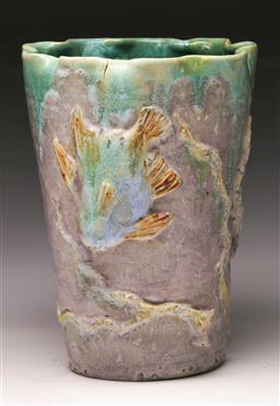 Sale 9114 - Lot 38 - Singed studio pottery fish vase - Castle Harris (H:20cm D:15cm)