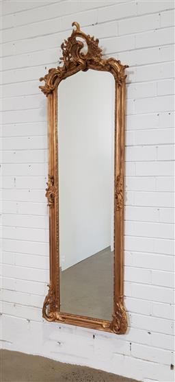 Sale 9154 - Lot 1064 - French style gilt framed mirror (h:175 x w:56cm)