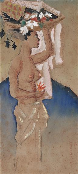 Sale 9195 - Lot 599 - DONALD FRIEND (1915 - 1989) - Untitled (Women Carrying Basket on Head) 54 x 24 cm