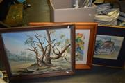 Sale 8419T - Lot 2069 - Group of (3) Artworks Including: Landscape Oil Painting & Watercolours, framed, various sizes