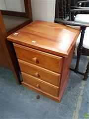 Sale 8601 - Lot 1421 - Pair of Timber Bedsides with Three Drawers