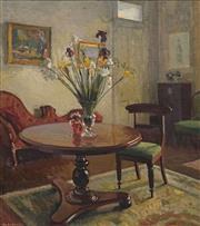Sale 8692 - Lot 588 - Douglas Dundas (1900 - 1981) - Interior at Kilmarnock, 1942-43 53 x 47.5cm