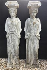 Sale 8772A - Lot 5 - A Pair Of Impressive Carved Marble Caryatid Columns Depicting Female Figures Each Column Each Carved From One Piece Of Marble Genera...