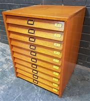 Sale 9002 - Lot 1008 - Vintage Maple Specimen Cabinet with Ten Glass Top Drawers (H:71 x W:54 x D:55cm)