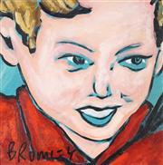 Sale 9042A - Lot 5082 - David Bromley (1960 - ) - Portrait of a Young Boy 35 x 35 cm (frame: 43 x 43 x 2 cm)