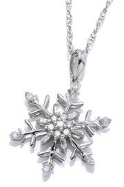 Sale 9083 - Lot 390 - A STERLING SILVER SNOWFLAKE DIAMOND PENDANT NECKLACE; 15mm wide pendant set with single and baguette cut diamonds totalling 0.10ct.