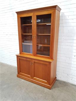 Sale 9121 - Lot 1003 - Timber display cabinet with two glass panel doors above two timber doors (h:211 w:124 d:52cm)