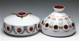 Sale 9156 - Lot 47 - Handpainted Venetian cranberry glass light fittings (Dia:31cm and 30cm)