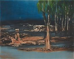 Sale 9195 - Lot 588 - SIDNEY NOLAN (1917 - 1992) - Kelly with Wounded Figure 44 x 56 cm (frame: 76 x 88 x 3 cm)