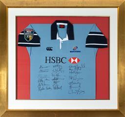 Sale 9256H - Lot 94 - A framed Waratahs Super 12 signed jersey, frame size 110cm x 110cm.