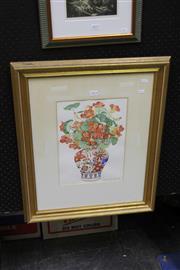 Sale 8309A - Lot 85 - Belinda Black (XX) - Red Flowers in Oriental Vase 36.5 x 26cm