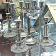 Sale 8351 - Lot 52 - Silver Plated Candelabra with a Pair of Candlesticks