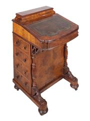 Sale 8379A - Lot 21 - A beautiful Victorian burl walnut Davenport Desk  English circa 1870s  H: 86cm W: 54cm D:55cm