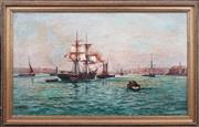 Sale 8415 - Lot 567 - Charles John De Lacy (1856 - c1936) - Rowing at Port 61 x 104.5cm