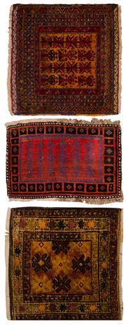 Sale 8447C - Lot 98 - 3 x Persain Antique Door Mats Approx. 90cm x 60cm