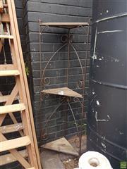 Sale 8601 - Lot 1253 - Metal Three Tiered Corner Stand