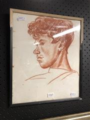 Sale 8789 - Lot 2161 - Artist Unknown Untitled (Portrait of a man) conte on paper, 32.5 x 27.5cm, unsigned, Blue Door gallery label verso -