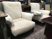 Sale 8795 - Lot 1052 - Pair of Cream Upholstered Armchairs on Castors