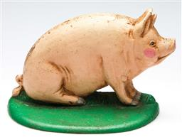 Sale 9246 - Lot 97 - A cast iron rosy cheek pig doorstop (W:20cm)