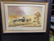 Sale 8407T - Lot 2027 - Joe Huber (1930 - ) - Outback Station 39 x 64.5cm