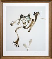 Sale 8415 - Lot 552 - John Olsen (1928 - ) - Hanging Tree Frog 63 x 55cm