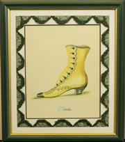 Sale 8575J - Lot 44 - A framed print of a French ladies boot with arch shaped bullion tassel border and painted frame, 62cm x 52cm including framing