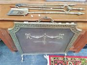 Sale 8428 - Lot 1079 - Antique Style Brass Fire Screen with iron doors Together with Set of Fire Tools