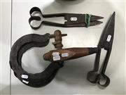 Sale 8787 - Lot 1020 - Pair of Vintage Sheers, Horseshoes and Australian H.Gage Spigot