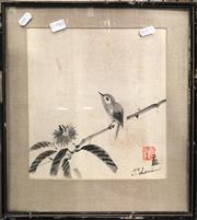 Sale 8789 - Lot 2104A - Tomikuchiro Tokuriki, Bird, ink brush (AF), 37.5 x 33.5cm, signed