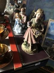 Sale 8802 - Lot 235 - Vintage Andrea Sader Porcelain Figures (Damage to Mandolin Players Hand) Together with A Royal Doulton Figures Booklet