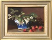 Sale 8853 - Lot 2006 - Helen Beales Still Life - Jasmin, Strawberries & Oriental Vase oil on canvas board, 35.5 x 46cm (frame), signed lower left -