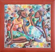 Sale 8981 - Lot 2058 - Digna, Two African Women Carrying Babies  oil on canvas board, 67 x 71 cm (frame: 81 x 85 x 3 cm), signed lower right