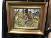 Sale 9024 - Lot 2005 - Artist Unknown Ned Kelly Riding- After Sidney Nolan oil on board, frame: 35 x 40 cm, signed illegibly lower left -