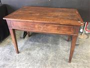 Sale 9031 - Lot 1054 - French Louis XVI Style Oak Table & Dough Bin, with removable top to a round bin section, the frieze with rosette & on tapering legs...