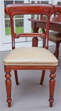 Sale 9090H - Lot 44 - A set of eight latte leather upholstered dining chairs, Height of back 93cm