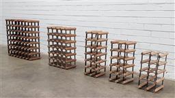 Sale 9112 - Lot 1076 - Collection of timber & metal wine racks (h70cm)