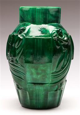 Sale 9122 - Lot 33 - Large Malachite Glass Vase Depicting Characters (H:26cm)